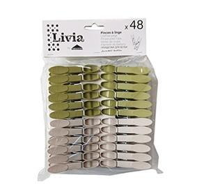48 pinces à linge plastique LIVIA