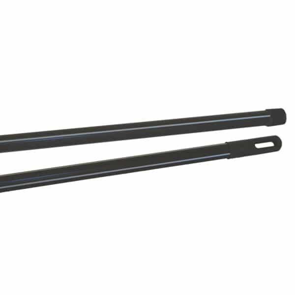 Manche métal gainé noir rayé gris 120 cm